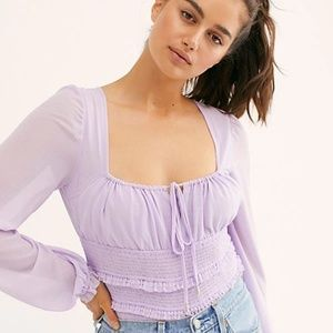 Free People Solid Lolita Lilac Smocked Top NWT